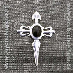 Pin cruz de Santiago de azabache y plata