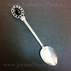 Cucharilla de azabache y plata